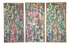 Multi-Color Abstract Framed Tryptich Painting on Chairish.com