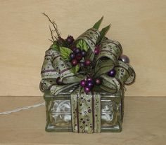 Christmas Glass Block Centerpiece by Elibet on Etsy
