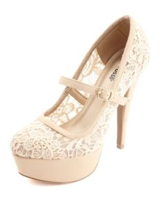 Lace Mary Jane Platform Pumps by Charlotte Russe - Beige from Charlotte Russe. Saved to Shoes. Sock Shoes, Cute Shoes, Me Too Shoes, Shoe Boots, Prom Shoes, Wedding Shoes, Being Mary Jane Fashion, Stiletto Pumps, Pumps Heels
