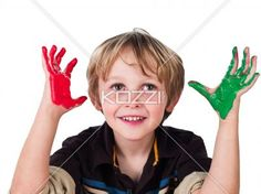 cute blonde boy with painted hands. - Cute blonde boy with painted hands over white background,
