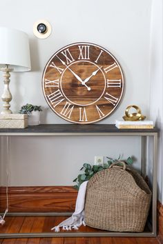 Beautiful wood wall clock just finished. Handmade and ships nationwide. Available in many sizes. Wall Clock Light, White Wall Clocks, Oversized Clocks, Clock Painting, Handmade Clocks, Farmhouse Wall Clocks, Distressed Walls, Walnut Wood, Dark Walnut