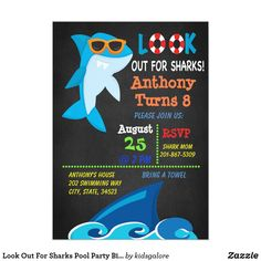 Shop Look Out For Sharks Pool Party Birthday Invitation created by kidsgalore. Shark Games For Kids, Shark Pool, Pool Party Birthday Invitations, Shark Party, Under The Sea Party, Kids Party Supplies, Boy First Birthday, Digital Invitations, Sharks
