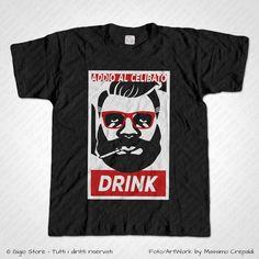 Magliette Matrimonio Addio Celibato Maglietta Hipster Obey Drink Parodia. Idee Regalo per gli Amici dello Sposo. Personalizza