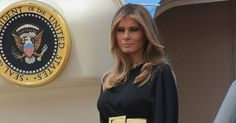 Melania Trump Wears Stella McCartney on Her Arrival to Saudi Arabia. Her gold belt was by Saint Laurent.