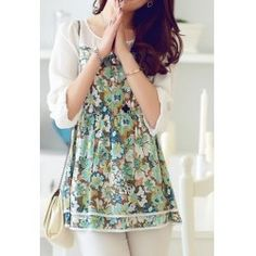 Wholesale Floral Print Double Layered Hem Color Block Round Collar Three Quarter Sleeve T-shirt For Women (GREEN,2XL), Women's T-shirts - Rosewholesale.com