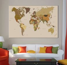 Large detailed  world map wall art with countries names canvas print Extra large world map home decor world map canvas print ready to hang by Canvasok on Etsy