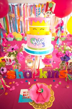 Cakescape from a Floral Shopkins Birthday Party on Kara's Party Ideas | KarasPartyIdeas.com (29)