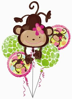 """What a great value!  Our Monkey Love 1st Birthday Bouquet of Balloons pack features a 40"""" tall SuperShape Baby Monkey foil balloon, two 18"""" round Monkey Love 1st Birthday foil balloons, and two 18"""" white and green round animal print foil balloons.  Plus, 5 white ribbons are included too!  It's a complete package!"""