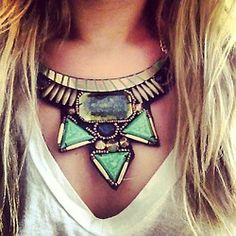 I love statement jewelry with casual tops