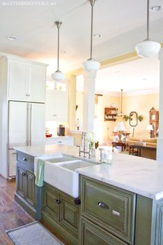 Want this sink. Traditional Kitchen Green Island Marble Countertop The Lettere… - All For House İdeas Green Kitchen Island, Light Kitchen Cabinets, Cottage Kitchen Cabinets, Kitchen Dining, Kitchen Backsplash, Marble Countertops, Traditional Kitchen, My Living Room, Cottage Style