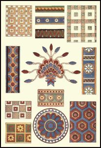 Assyrian patterns - decorative ornament. Ancient Egyptian and Assyrian Dye Colours