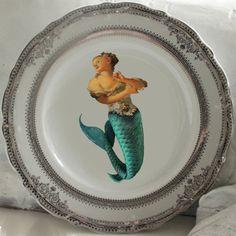 Plaques d'argent ou d'or sirène / plats, plaques nautiques, mer nautique…