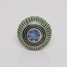 green and blue round ceramic focus go knob by trinca-ferro | notonthehighstreet.com
