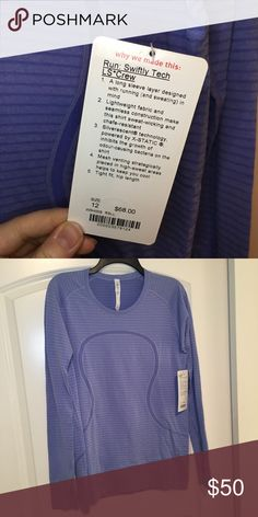 lululemon Swiftly LS long sleeve, tight fit, silverescent technology keeps odors out Color: Rugby Stripe Tonal Heathered Lullaby lululemon athletica Tops Tees - Long Sleeve