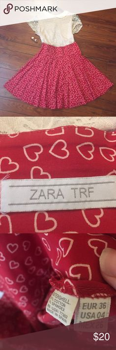Adorable Zara trf red hearts flared skirt This skirt is so adorable, I wish it still fit. This  skirt is red with little hearts all over it. It is size a size 4. Zara Skirts Circle & Skater