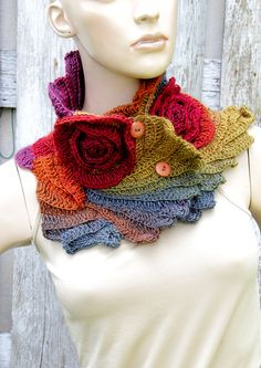Scarf Crochet Rainbow Roses Capelet Button Neck Warmer