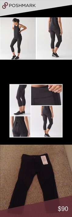 "Lululemon ""Conduit Crop"" Limited edition, sold out everywhere and SO cute!!!!!   Purchased these from Lulu about 4 months ago for $98 plus tax.  I wore them less than 5 times (excellent like new condition) and am not sure they are for me.  Would like to get close to what I paid for otherwise I will just keep them.  Willing to trade for lulu in new or like new condition.  Comes with original tag but not attached, inside pull tag has been removed.  Size 10. lululemon athletica Pants"