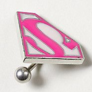14G Supergirl Logo Belly Ring
