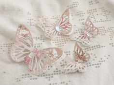 Handmade Shabby Chic Winged Beauties Butterfly's Paper Piecing by Becky #Handmade