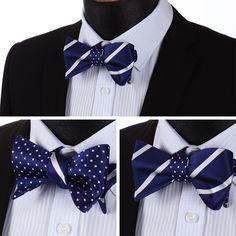 BowTie - Blue White Stripe 100%Silk Double Sided Bow Tie @runit365 #bowtie #doublesided #fashion