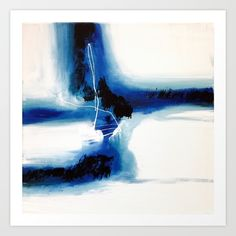 Abstract - Black, white, blue Art Print by Sophie_lemieux. Worldwide shipping available at Society6.com. Just one of millions of high quality products available.