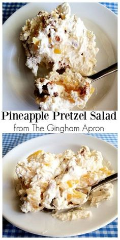 Pineapple Pretzel Salad: the perfect combination of salty and sweet. The sugar coated pretzels put this salad over the top. #summersalad #saltyandsweet #pretzel #pineapple #candiedpretzels #summer Summer Recipes, Pineapple Pretzel Salad, Coding, Church Potluck, Breakfast, Sweet And Salty, Food, Cereal, Eten