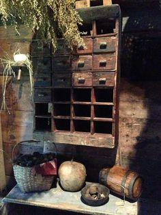 Avery Hill Farm Primitive Furniture, Primitive Antiques, Country Primitive, Rustic Furniture, Primitive Decor, Prim Decor, Country Decor, Countryside Style, Wall Cupboards