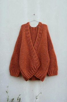 Knitting pattern for open cardigan - the Sunset cardigan, garter stitch, chunky cardigan Knit Cardigan Pattern, Chunky Knit Cardigan, Oversized Cardigan, Open Cardigan, Knitting Patterns Free, Knit Patterns, Baby Knitting, Sweater Knitting Patterns, Knitted Baby