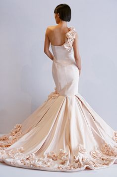 One-shoulder pink wedding dress from Dennis Basso, Spring 2013. Click to see the front of the dress!