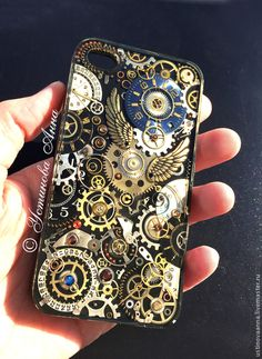 Купить Стимпанк чехол на телефон, чехол в стиле стимпанк,часы/steampunk - разноцветный, абстрактный, стимпанк