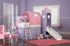 Princess Castle Twin Size Tent Bunk Bed with Slide Powell for a Princess. The Princess Castle Tent Bunk Bed with Slide includes a tent over twin bed and a covered hiding place below. The top of the slides is tented with a Princess Tower with pe Bunk Beds For Girls Room, Cool Kids Bedrooms, Kid Beds, Girls Tent, Girls Canopy, Bed Rooms, Bunk Bed With Slide, Bunk Beds With Stairs, Bed Slide