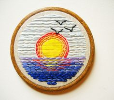 Ocean Sunrise Vintage Inspired Embroidery Hoop Art by whatnomints