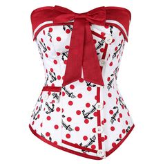 Gah! Must. Have!! How much do you love this? The anchors? The red polka dots? The bow? Perfection! The Violet Vixen - Naughty Nautical Red Overbust Corset, $102.00 (http://thevioletvixen.com/authentic-corsets/naughty-nautical-red-overbust-corset/)