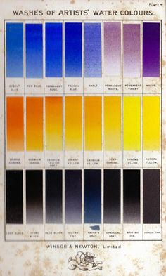 Winsor & Newton - Washes of Artists' Water Colours - Vintage Color Chart - via whimsie.com