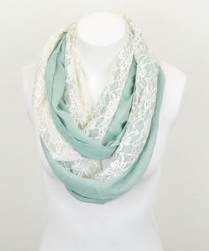 Another great find on #zulily! Mint & White Lace Mix Infinity Scarf by Leto Collection #zulilyfinds