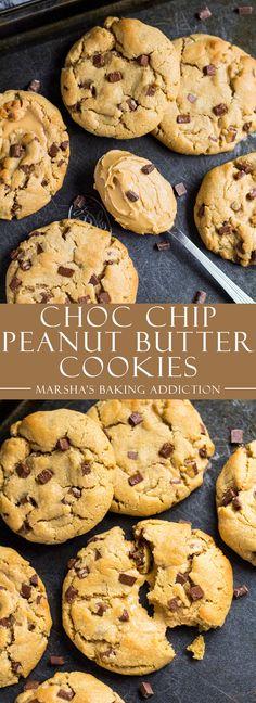 Chocolate Chip Peanut Butter Cookies via marshasbakingaddiction.com | @marshasbakeblog