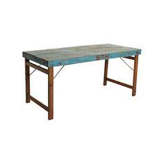 Mesa con estética vintage de madera. Plegable. Medidas: L149xA89xH76CM