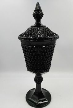 Vintage Indiana Tiara Black Diamond Point Glass Compote Urn Candy Dish with lid #Indianaglass #MidCenturyModern