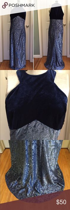 "•VTG• Jessica McClintock Gunne Sax 90's Gown This stunning dress will wow at the ❄️winter❄️ parties this season! Approximately 1990's Jessica McClintock Gunne Sax gown. Beautiful deep blue velvet bodice. Floor length done in a blue and silver metallic fabric. Back zipper. Excellent condition. Only One flaw is a small hole near the bottom of the dress on the back. An easy repair with a few stitches. Tag says Size 11/12. I'm and 8-10 and it fits me nicely. (Bust 19-20"" Length 59"") Thanks for…"