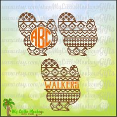 Aztec Turkey Aztec Turkey Split and Aztec Turkey Monogram Base Digital Clipart Instant Download SVG DXF EPS Jpeg Png - pinned by pin4etsy.com