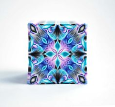 Polymer Clay Cane Kaleidoscope, raw and unbaked cane, square cane, Millefiori, purple, blue, black, turqiose, Premo cane