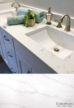 Our non-porous quartz line is resistant to scratches, heat, stains and water. This makes it perfect for any countertop.  Seen here is 'Statuario' quartz which has a natural white marble look with sable-colored veining.  Discuss your countertop design with our stone experts today: http://www.egmcorp.com/pentalquartz/statuario-bq8628
