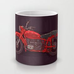 red vintage motorcycle Mug by EkaterinaP | Society6