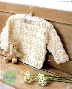 White Baby Sweater and Matching Hat free crochet graph pattern