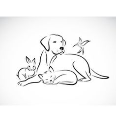 Cat dog rabbit and bird silhouettes logo vector by Glopphy - Image #1098503 - VectorStock
