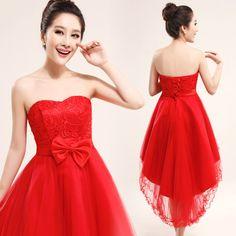robe de mariée courte devant | robe de mariée devant courte arrière longue rouge robe de demoiselle ...