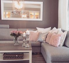 Home decor on a budget apartment living room color schemes awesome pin by living room ideas cozy on next to buy in 2018 Elegant Living Room, Beautiful Living Rooms, Living Room Grey, Home Living Room, Apartment Living, Cozy Apartment, Blush Pink Living Room, Apartment Ideas, Pink Room