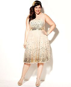 Ruby Rox Plus Size Dress, Sleeveless Sequin Illusion - Plus Size Prom Dresses - Plus Sizes - Macy's