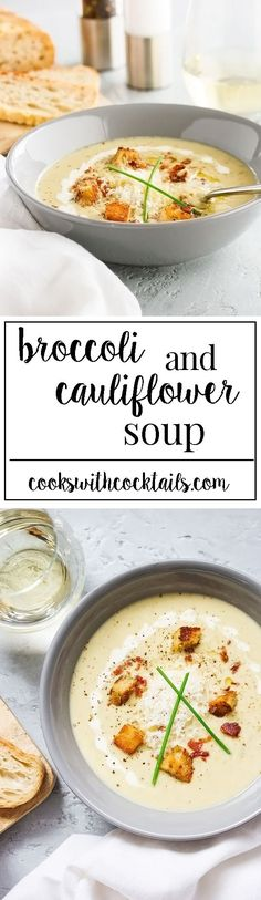 This broccoli and cauliflower soup is creamy and cheesy and packed full of nutrition and flavor. Low carb comfort food that's quick and easy for a weeknight meal. The croutonsare out of this world amazing and are a cinch to make. We will show you how.    Make this recipe gluten free with gluten free crutons or make it paleo without the crutons and a little extra cheese on top!  #broccolisoup #cauliflowersoup #vegetablesoup #creamysoup via @CookswCocktails