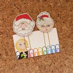 Felt Planner Clips  SANTA & MRS. Santa by TheBookNookPatch on Etsy Day Planner Organization, Day Planners, Filofax, Santa, Felt, Christmas Ornaments, Holiday Decor, Unique Jewelry, Handmade Gifts